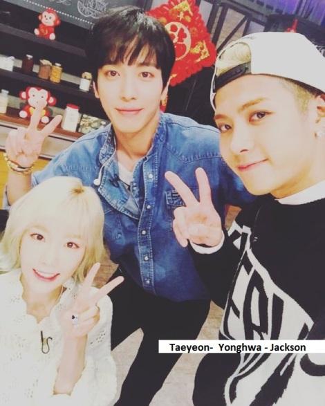 Taeyeon, Yonghwa, Jackson seusai syuting variety show